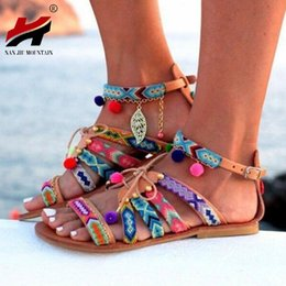 1b76de9c40786 Plus Size 34-43 Ethnic Bohemian Summer Woman Pompon Sandals Gladiator Roman  Strappy Embroidered Shoes Women Flat Sandals