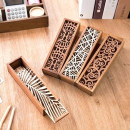 Discount box student pencil - Hot 1pcs Hollow Wood Pencil Case Storage Box Creative Students Cute Wooden Pencil Box Multifunction Stationery School Gi