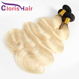 613 platinum blonde hair extensions 2019 - Ombre Blonde Hair Extensions Virgin Malaysian Body Wave Bundles Cheap Two Tone 1B 613 Platinum Blonde Human Hair Weave C