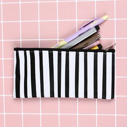 $enCountryForm.capitalKeyWord Canada - 1PCS Brief Black White Businees Stripes Canvas Stationery Storage Organizer Bag School Office Supply Cosemetic Bag