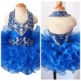 $enCountryForm.capitalKeyWord NZ - 2019 Halter Pageant Cupcake Dress For Baby Girls Beaded Rhinestone Beaded Mini Gown Toddler Princess Ruffles Tutu Dress Infant Girls