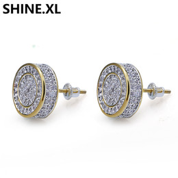 Wholesale 925 Sterling Silver Iced out CZ Premium Diamond Cluster Zirconia Round Screw Back Stud Earrings for Men Hip Hop Jewelry