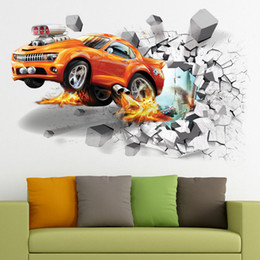 classic car wallpaper 2019 - 3D Self-adhesive Flying Fire Car PVC Wall Sticker Decal Living Room Bedroom Decor Mural Art Wall Sticker Decals Decorato