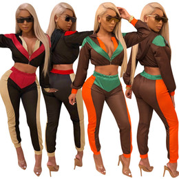 $enCountryForm.capitalKeyWord Australia - Multi Color Patchwork Women Tracksuits Zipper Long Sleeve Hooded Jacket Top + Fitness Pants Sporting 2 Piece Set Outfits Sporting Set