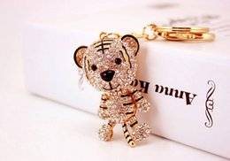 tiger key ring Canada - Animal Tiger Keychain Key Chians Ring Holder - Lovely Women Bag Accessories - Cartoon Tiger Pendant Keychains Wedding Favor
