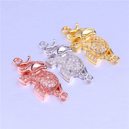 Micro Pave Connectors Australia - Wholesale Handmade Accessories Micro Pave DIY Jewelry Findings Thailand Elephant Charms Pendant Connectors Bracelet Component Hook Clasp Fit