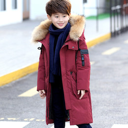 Jackets For Teens Canada - 6-14Y Children's Down Jacket Big Fur Collar Long Thick Teen Boys Winter Coat Duck Down Kids Winter Jackets for Boy Outerwear