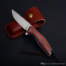 Handmade tactical knives online shopping - Handmade Damascus Blade Flipper Bearing Tactical Folding Pocket Knife Wood Handle EDC Survival gear Outdoor Hunting Knives Xmas Gift P482Q
