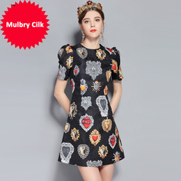 Summer Street Fashion Vintage Dresses Australia - New 2018 Fashion Runway Summer Dress Women's Short Sleeve Love Diamond Printed Mini Vintage Dress High Quality