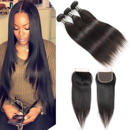 Chinese  Peruvian Straight Human Remy Virgin Bundles with Closures 3 4 Bundles with Middle or Free Part Weaves Closure Body Wave Wholesale Cheapest manufacturers