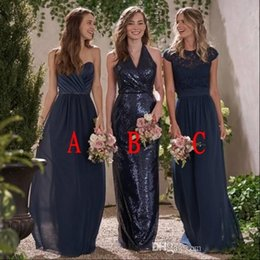 Discount dress style for maid honors - New Navy Blue Different Styles A Line Bridesmaid Dresses For Weddings 2018 Lace Sequins Ruched Plus Size Maid Of Honor W