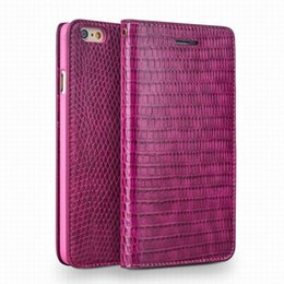 China Crocodile pattern lady handmade flip leather case for iPhone 6 6S plus HOT PINK Cover 4.7 5.5 inch suppliers