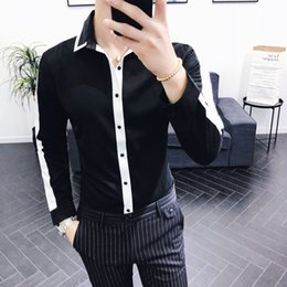 white color shirts NZ - New Arrival Autumn Casual Shirt Men Black And White Contrast Color Personalized Youth Shirt Regular Non-iron Slim Fit Mens