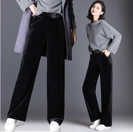 10338e3f211 Korean Style Women s Wide Leg Velvet Pants Black Red Plus Size Women Bell  Bottom Velour Trousers Elastic Waist Palazzo Pants 9XL