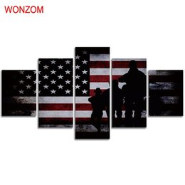 $enCountryForm.capitalKeyWord Australia - American Flag and Soldiers,5 Pieces Canvas Prints Wall Art Oil Painting Home Decor (Unframed Framed)