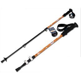 Red Handle Grips Australia - 7075 Aluminium Alloy Outdoor Walking Stick 65-135cm 3 Cork Handle Hiking s Nordic Walking Poles