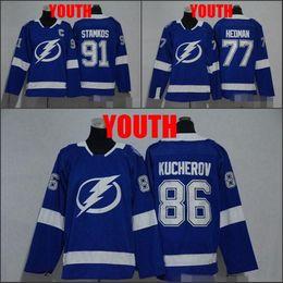 youth new 2018 tampa bay lightning 91 steven stamkos 86 nikita kucherov 77 victor hedman hockey jers