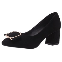 61a48b93d5cc Smilice 2018 Woman Faux Suede Pumps with Chunky Heel and Pointed Toe  Elegant Working Chic Shoes with Large Size Available A168