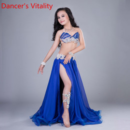 Royal Performance Suits Australia - Fashion Child Girls Belly Dance Sling Bra Ruffled Hem Sexy High Split Embroidered Skirt Suit Performance Competition Costume Indian Oriental