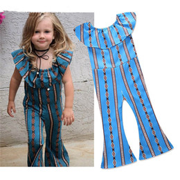 $enCountryForm.capitalKeyWord UK - 2018 new hot sell INS baby girls one-piece rompers geometric girl's jumpsuit children one shoulder rompers summer bell-bottoms trousers