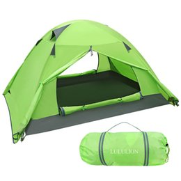 Pu Coating For Waterproof NZ - PU Coating Backpacking Waterproof Tent Two Doors Double Layer Anti-UV with Aluminum Rods for Outdoor Camping with Carry Bag