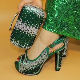Green Women Shoes Ribbon Lace Australia - vivilace Nigerian Style Rhinestone High Heels Shoes And Bag Set Italian Design Shoes With Matching Bag Set For Wedding ME7716