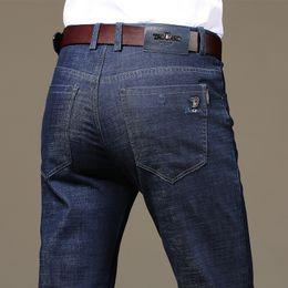 46745f2dc2752 Mens Jeans 2018 Autumn New Fashion Business Casual Denim Pants Men Jeans  Cotton Straight Cut Slight Stretch Trousers Large Size