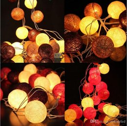 Ingrosso LED stringa leggera 3 m cotone palla leggera stringa fariy Nuovo tipo 20pcs palla di cotone caffè bianco per il patio di festa albero di Natale tavolo decro