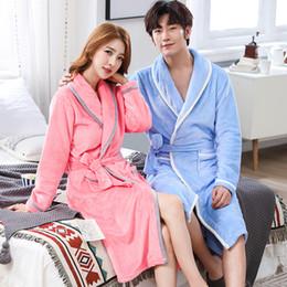 dded316ea2de Plus Size Flannel Pajamas Australia - Flannel Women Men Sleepwear Robes  Thick Warm Winter Long Robe