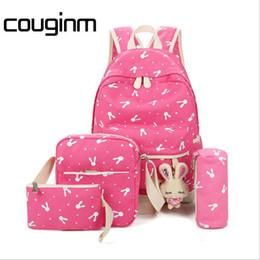 Chinese  Women Backpacks For Teenage Girl Shoulder Bag Pencil Cases 4 Pcs Set Rabbit Canvas School Satchels Canvas Children's Bag manufacturers