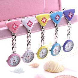 Clip Nurse Watch NZ - Clip Nurse Doctor Pendant Pocket Quartz Red Cross Brooch Nurses Watch Fob Hanging Medical reloj de bolsillo