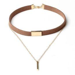 da0c2e5b5d4 Punk Black Velvet Choker Necklace Shellhard Gothic Retro 2 Layers Pendant  Chain Neckalces Femme Collar Bijoux Women Jewelry