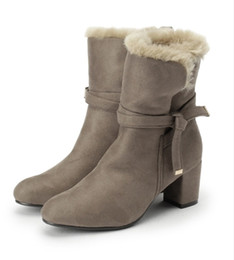 $enCountryForm.capitalKeyWord UK - Female Winter Boots For Girl Pair Faux Fur Boot Mid Heel Ankle Strap Shoes Side Zipper Discount Short Boots Newest Arrival