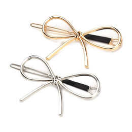 Discount hair bow clip holder - New Vintage Hairpins Metal Bow Knot Hair Barrettes Girls Women Hair Accessories Hairgrips New Brand Holder Clip
