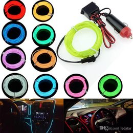 Discount flexible car led lighting bars Car Cigarette Lighter Plugs 12V 1M 2M 3M 5M LED light 10 Colors EL Wire Tube Rope Flexible Neon Cold Light Car Decor