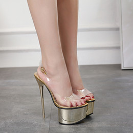 51ed6e75470 Shoes Pole Dancing Canada - 16cm Super platform transparent PVC sling back  thin high heels pole