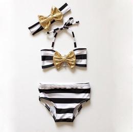 $enCountryForm.capitalKeyWord Australia - 3PCS Cute Striped Kids Bikini Swimsuit with Bow Headband 2018 Children Swimwear for Girls Infant Summer Bikinis