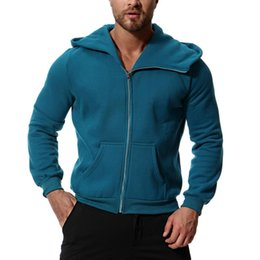 $enCountryForm.capitalKeyWord UK - Autumn Winter Men Jacket Outerwear Hooded Zipped Running Jackets Men Gym Workout Clothes Long Sleeve Man Tops Solid Color NEW