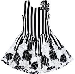 4fdc82e4 Sunny Fashion Girls Dress Sleeveless Black White Stripes Flower Bow Tie  Cotton 2018 Summer Princess Wedding Party Size 7-14