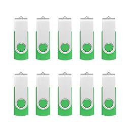 Flash Drive Pen Sticks Australia - Green Bulk 10PCS Metal Rotating USB 2.0 Flash Drive Pen Drive Thumb Memory Stick 64M 128M 256M 512M 1G 2G 4G 8G 16G 32G for PC Laptop Mac