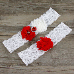 5589f31cb42 Two Piece Lace Wedding Garters Set Bridal Chiffon Flowers Rhinestones Red  Lace Wedding Bridal Leg Garters 2019 In Stock Cheap