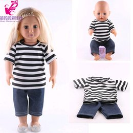 Girls Doll Shirt Canada - Doll shirt and Jean pants Fit 43cm Zapf Baby Born Doll Suit 18 inch doll Accessories girl birthday gift