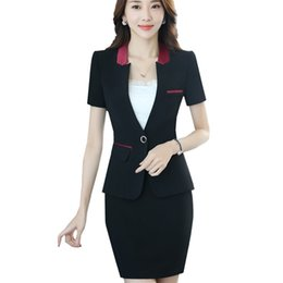 69866a0b3e Skirt suit woman short sleeve V-neck patchwork office lady suits single  button pockets design slim fashion formal clothing