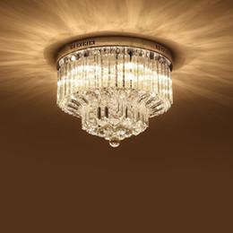 Discount Crystal Bathroom Light Fixtures   Modern K9 Crystal Chandelier  Lighting Flush Mount LED Ceiling Light