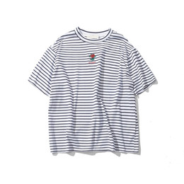 637b245f9 Rose Embroidery Striped Mens T-shirt Short Sleeve Summer Hi-street  Oversized Hip Hop Tshirt Cotton Tee Shirts 2 Colors