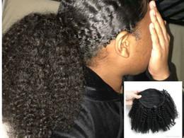 $enCountryForm.capitalKeyWord Canada - New Arrival Human Hair Ponytail for black women Clip afro kinky curly natural black 1b Virgin Hair kinky Ponytail Hair Extensions 120g