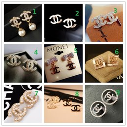 Discount ball box plastic - wholesale!14K Brand Designer Pearl letter Stud Earrings collar needle Diamond Wedding Party Fashion Jewelry Gift Scarf A