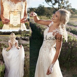 $enCountryForm.capitalKeyWord NZ - Bohemian Appliques Layered Tulle Wedding Dresses Cheap Full Skirt 2018 Sheer Neck Full Lace Pleated Bridal Gowns Custom Made