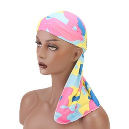 Chinese  Muslim Women Bandana sweatband Turban Hat Silky Pirate Durag do doo durag Headwear Headscarf long tail headwrap Skull Cap Hair Accessories manufacturers