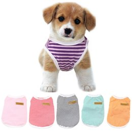 T Shirts Collar Wholesale NZ - 20 Designs Dog Clothes Pets Dogs Breathful Cotton T-Shirt with Round Dog Collar Pet Supplies Dog Accessories Dogs Apparel